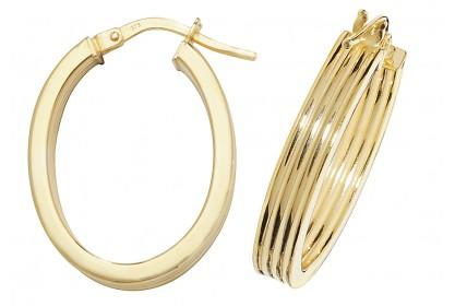 9ct Yellow Gold Diamond Cut Oval Hoop Earrings