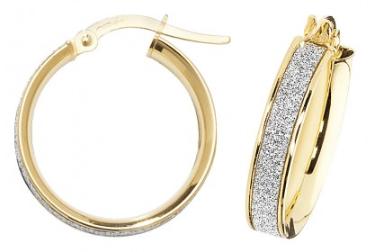 9ct Yellow Gold Stardust Sparkle Hoop Earrings