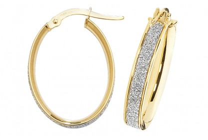 9ct Yellow Gold Stardust Sparkle Oval Hoop Earrings