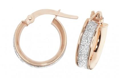 9ct Rose Gold Stardust Sparkle Hoop Earrings