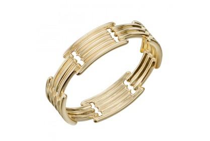 9ct Yellow Gold Long Bar Column Ring