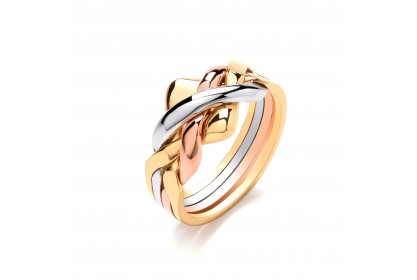 9ct Yellow/White/Rose 4 Piece Puzzle Ring