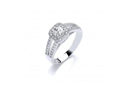 9ct White Gold Princess Cut CZ Halo Ring