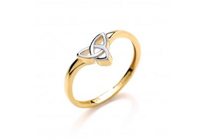 9ct Yellow/White Gold Wishbone Style Celtic Ring