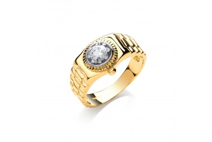 9ct Yellow Gold Rolex Style CZ Ring
