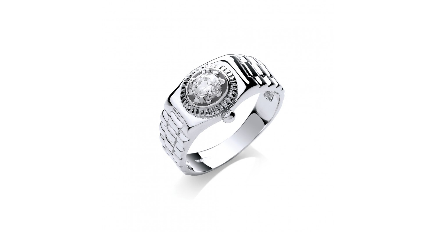9ct White Gold Rolex Style CZ Ring