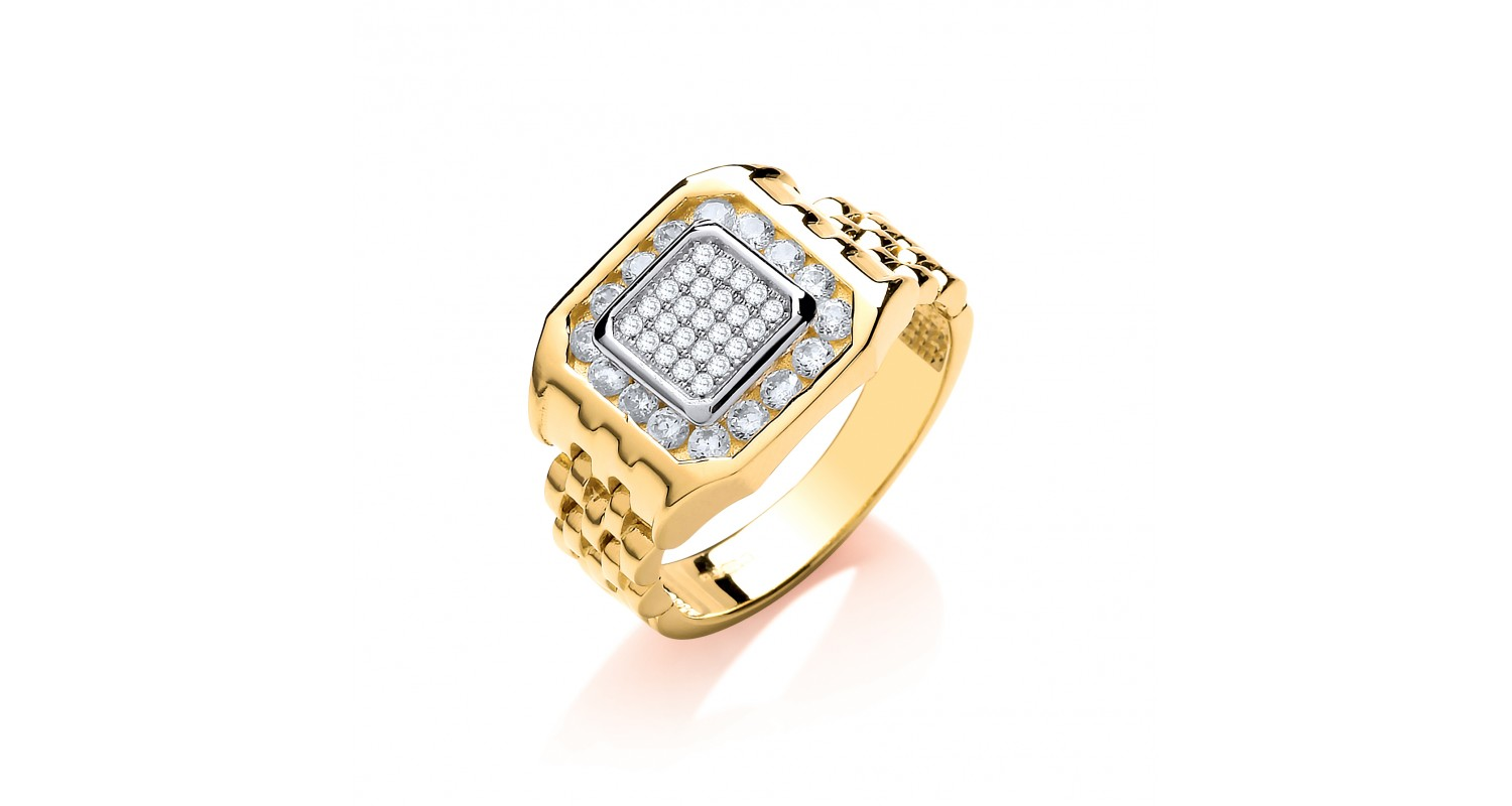 9ct Yellow Gold Panther Link CZ Ring