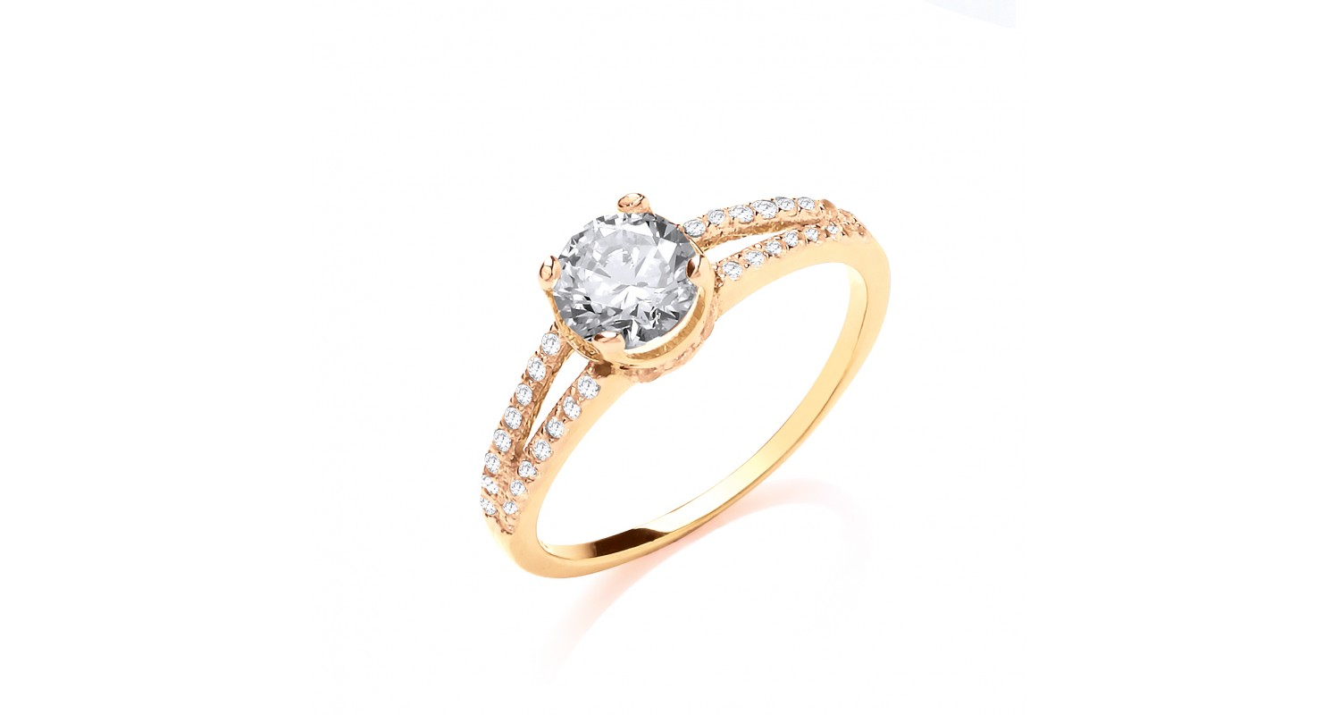 9ct Yellow Gold Crossover CZ Ring