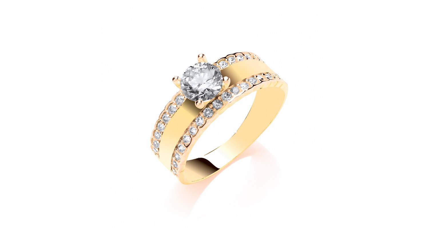 9ct Yellow Gold 2 Row CZ Ring