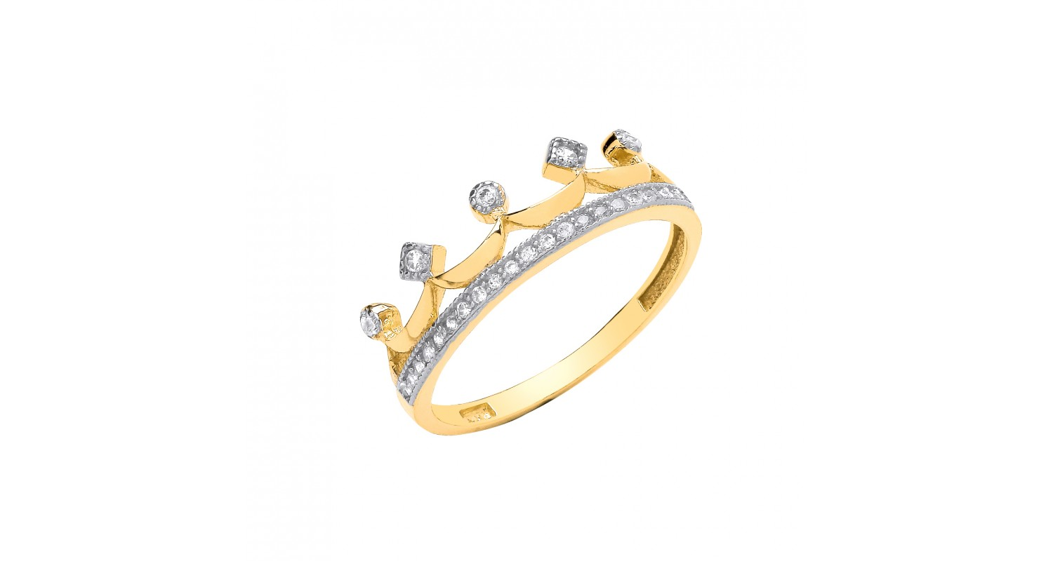 9ct Yellow Gold Crown CZ Ring