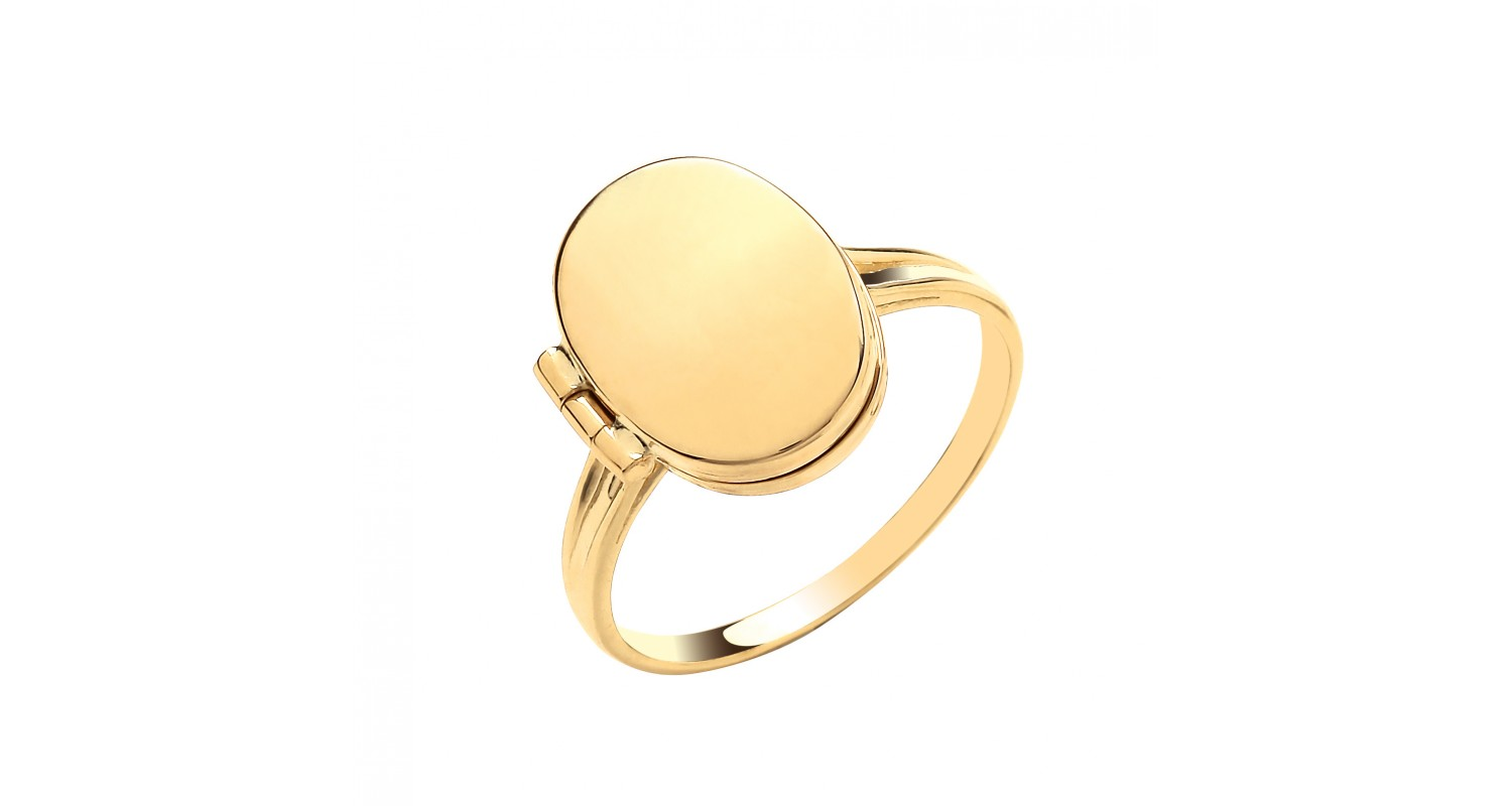 9ct Yellow Gold Oval Plain Locket Ring