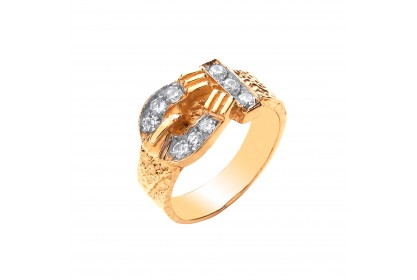 9ct Yellow Gold CZ Buckle Baby/Childs Ring