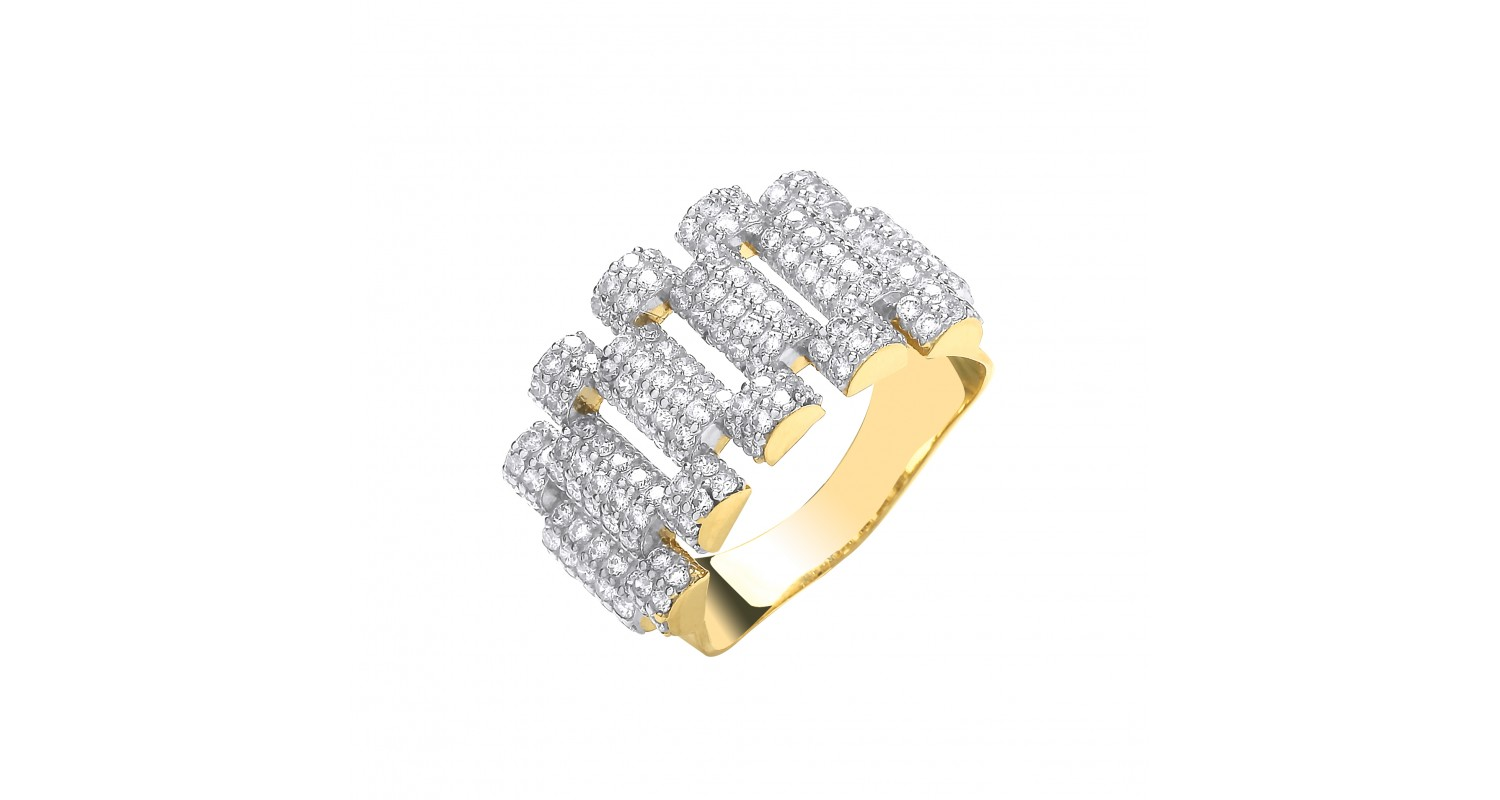 9ct Yellow Gold CZ Fancy Link Ring