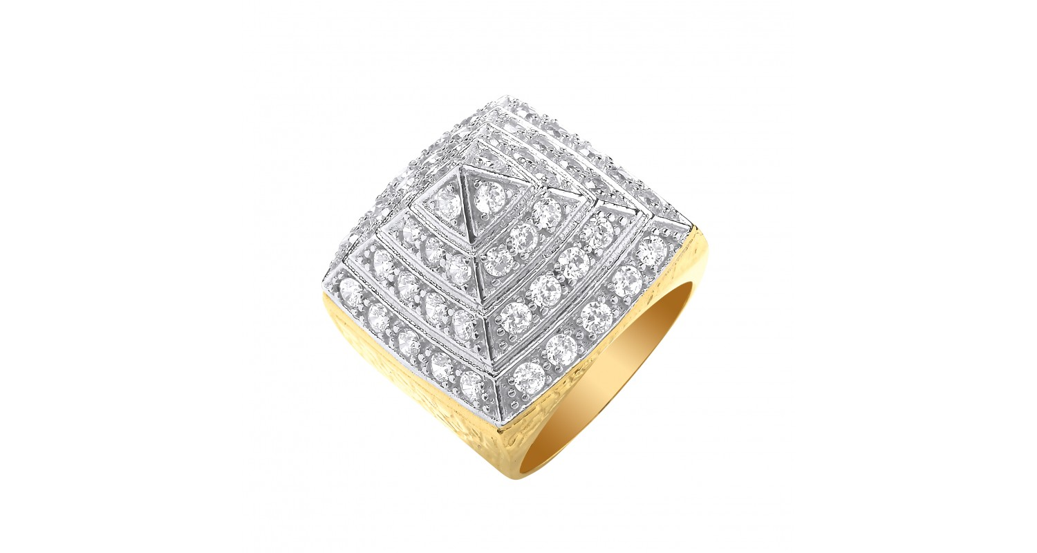 9ct Yellow Gold CZ Pyramid Gents Ring