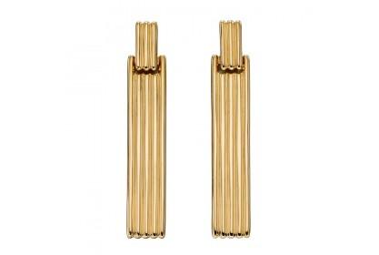 9ct Yellow Gold Long Bar Column Earrings