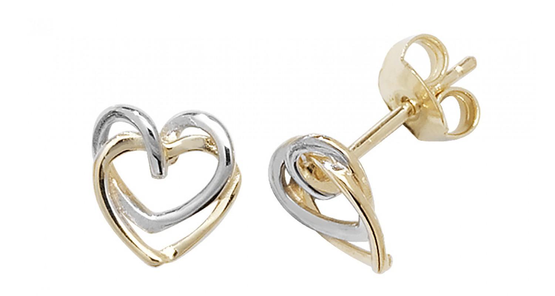 9ct Yellow And White Gold Interlocking Heart Studs