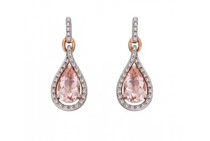 9ct Rose Gold Morganite & Diamond Teardrop Earrings