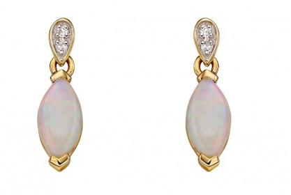 9ct Yellow Gold Opal & Diamond Marquise Earrings
