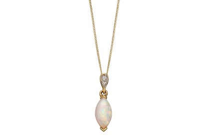9ct Yellow Gold Opal & Diamond Marquise Necklace