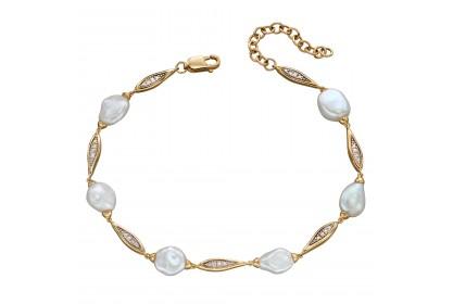9ct Yellow Gold Keshi Pearl & Diamond Bracelet
