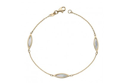 9ct Yellow Gold Navette Mother of Pearl Bracelet
