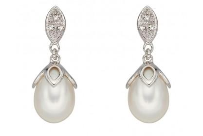 9ct White Gold Freshwater Pearl & Diamond Earrings
