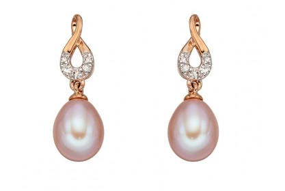 9ct Rose Gold Freshwater Pearl & Diamond Earrings