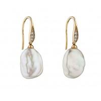 9ct Yellow Gold Keshi Pearl & Diamond Earrings
