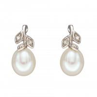 9ct White Gold Freshwater Pearl & Diamond Leaf Earrings