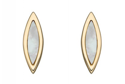 9ct Yellow Gold Navette Mother of Pearl Earrings
