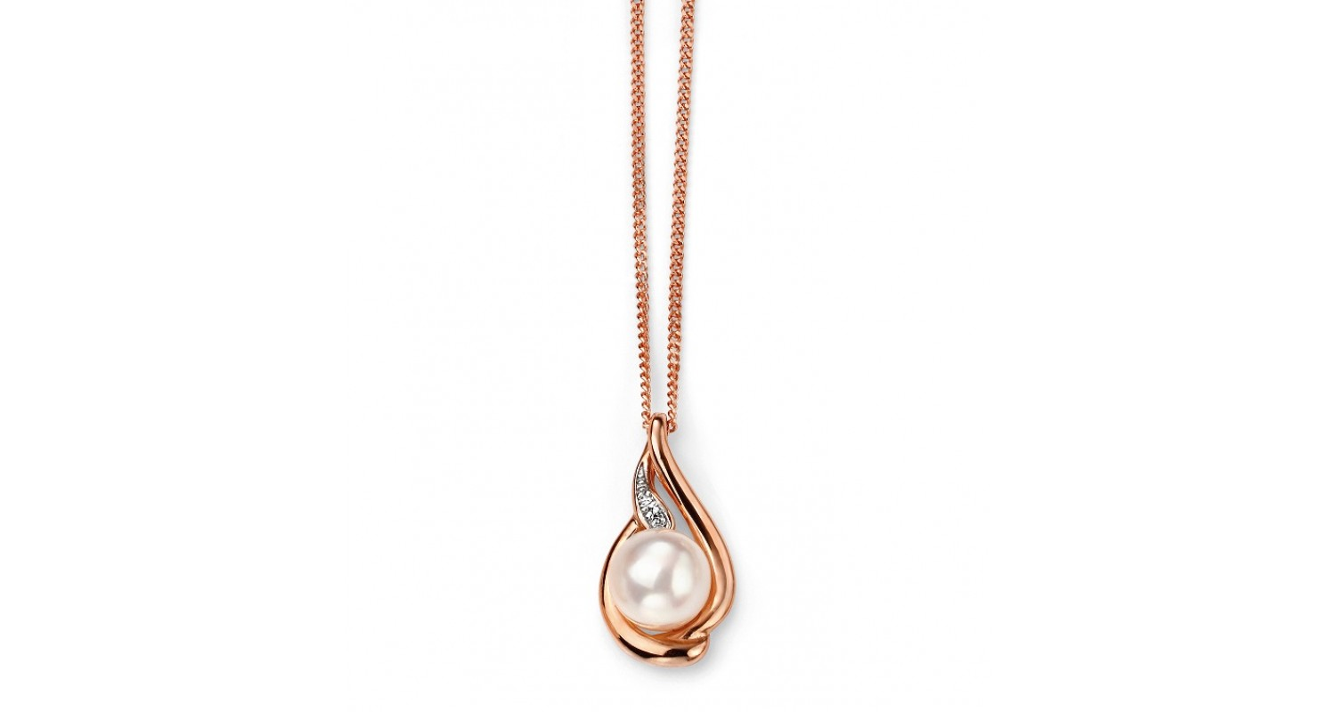 9ct Rose Gold Freshwater Pearl & Diamond Necklace