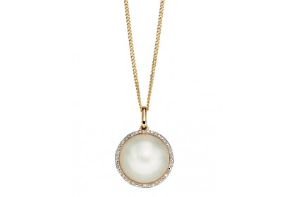 9ct Yellow Gold Mabe Pearl & Diamond Necklace