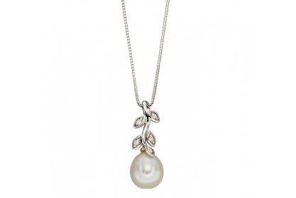 9ct White Gold Freshwater Pearl & Diamond Leaf Necklace