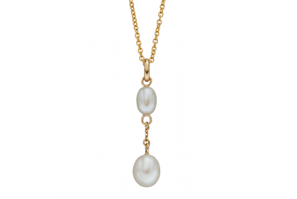 9ct Yellow Gold Freshwater Pearl Tier Drop Necklace