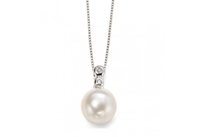 9ct White Gold Freshwater Pearl & Diamond Necklace