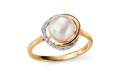 9ct Yellow Gold Button Pearl & Diamond Ring