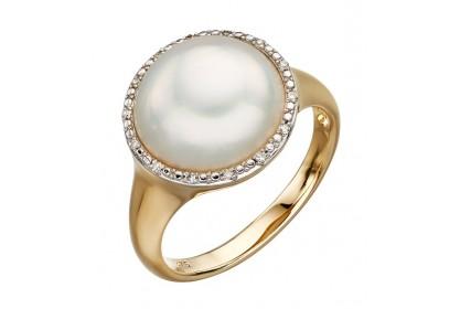 9ct Yellow Gold Mabe Pearl & Diamond Ring