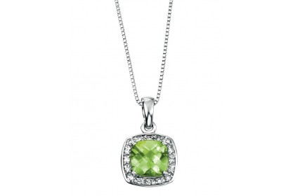 9ct White Gold Peridot & Diamond Necklace