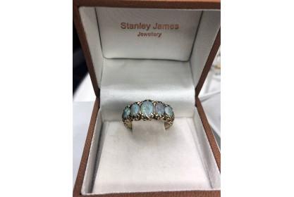 9ct Yellow Gold 1970 Multi Opal Dress Ring