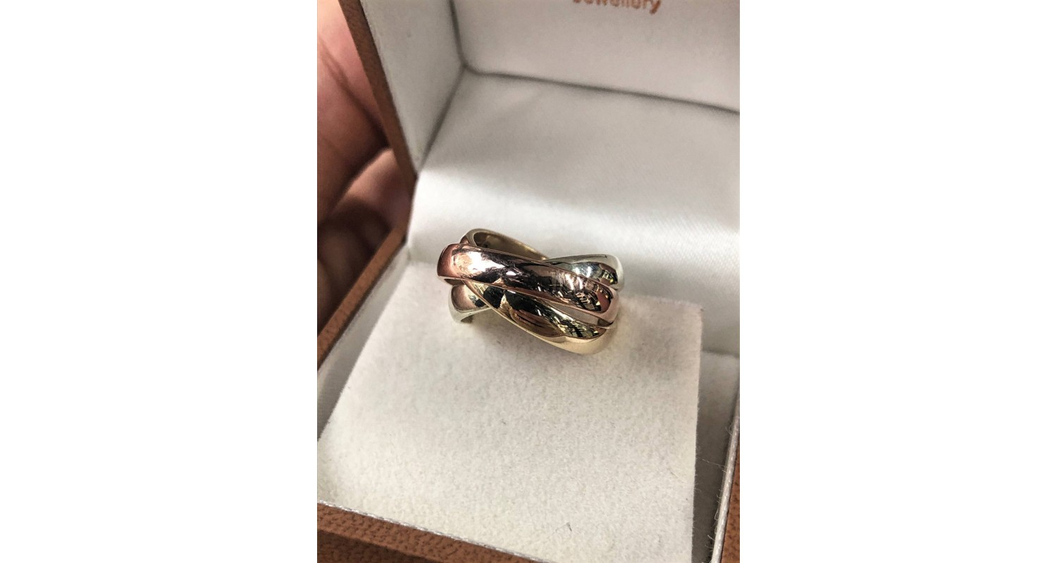 9ct Three Colour Gold 4mm Russian Wedding Ring