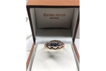 Edwardian 9ct Rose Gold Sapphire & Diamond Ring