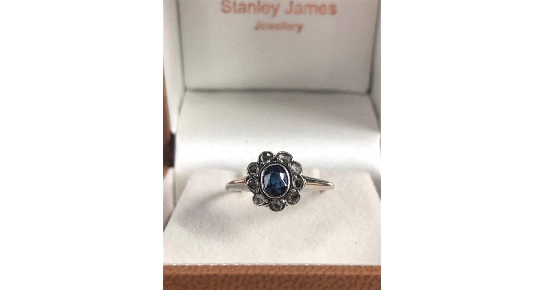 9ct White Gold 1920's Sapphire & Rose Cut Diamond Ring