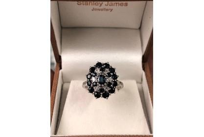 18ct White Gold Sapphire & Diamond Cocktail Ring