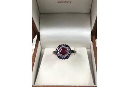 9ct White Gold Diamond, Ruby & Sapphire Ring