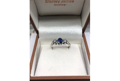 9ct White Gold Sapphire & Diamond Trilogy Ring