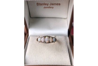 18ct Yellow Gold Multi Opal & Diamond Ring