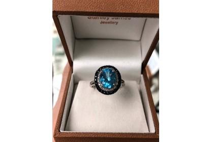 9ct White Gold Sapphire Diamond & Topaz Ring