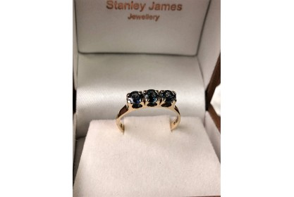 9ct Yellow Gold Australian Sapphire Trilogy Ring
