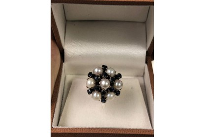 9ct Yellow Gold Sapphire & Pearl Ring