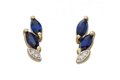 9ct Yellow Gold Sapphire & Diamond Studs